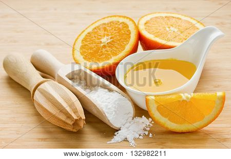 Components for preparation sugar orange syrup homemade confectionery cooking selective focus