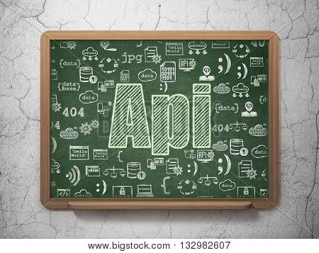 Programming concept: Chalk Green text Api on School board background with  Hand Drawn Programming Icons, 3D Rendering