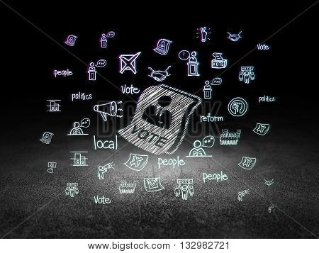 Politics concept: Glowing Ballot icon in grunge dark room with Dirty Floor, black background with  Hand Drawn Politics Icons