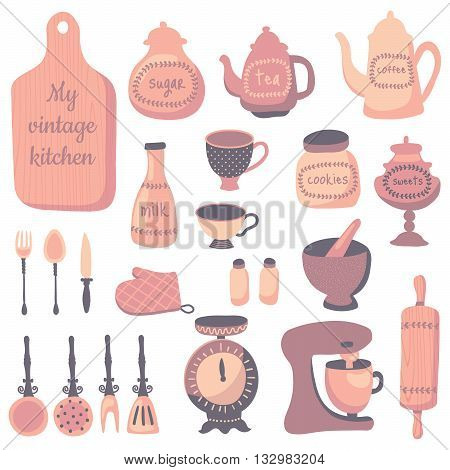 vector set of kitchen utensils in vintage style soft color palette isolated background