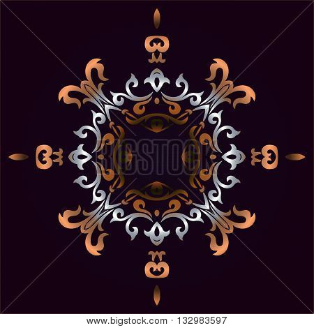Vector vintage border frame engraving with retro ornament pattern in antique rococo style decorative design