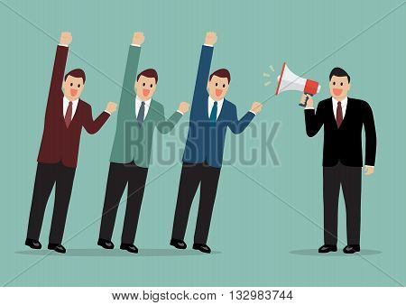 Businessman with a megaphone leading the business