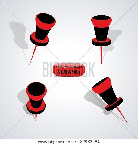 Set of pushpin in the national colors of Albania vector illustration.