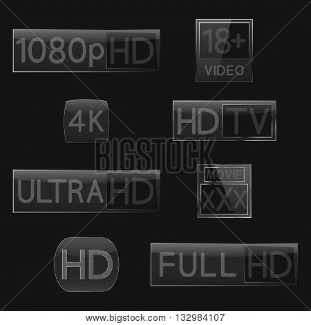 High-definition video signs on black background fourth set vector illustration.