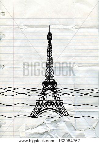 Eiffel Tower Flood. France Attraction Underwater.disaster In Paris France