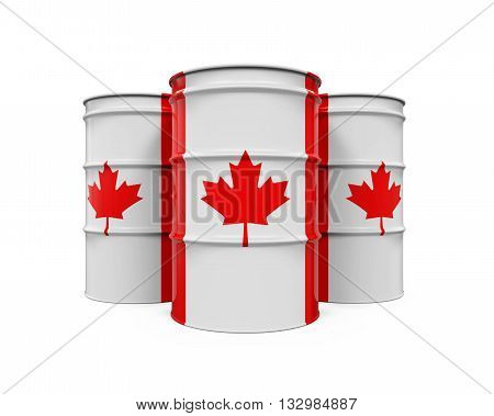 Canadian Flag Oil Barrel isolated on white background. 3D render