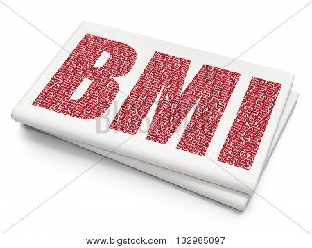 Health concept: Pixelated red text BMI on Blank Newspaper background, 3D rendering