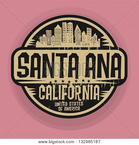 Stamp or label with name of Santa Ana, California, vector illustration