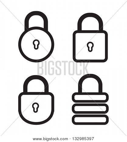 padlock web icon set