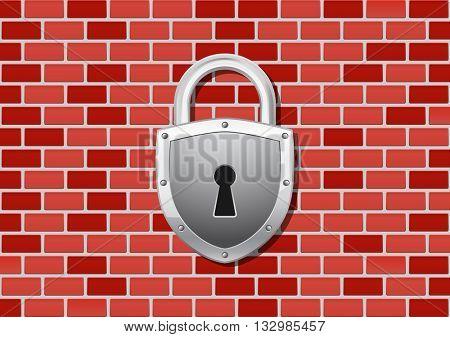 padlock icon on brick wall concept