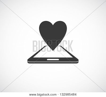 smatphone 3d with heart icon - web dating symbol