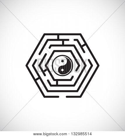 ying yang inside maze labyrinth - web icon