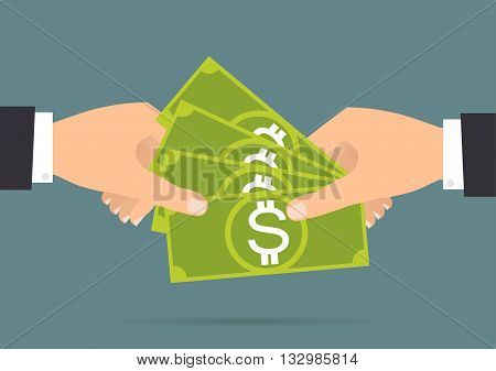 Businessman hands payment and receiving money. Vector illustration flat design business concept design.