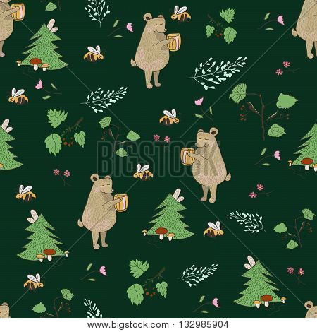 Bear and bee seamless pattern. Vector illustration with forest elements bears and bees. Background for or baby room nursery room story book print and design.