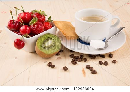Hot Coffee, Cake, Cherry, Strawberry, On The Wooden Table