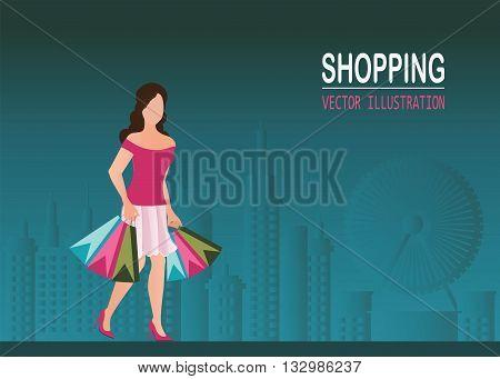 Shopping woman wearing high heel shoes and carrying shopping bags city view backgroundbeauty fashion shopping conceptual Vector illustration.