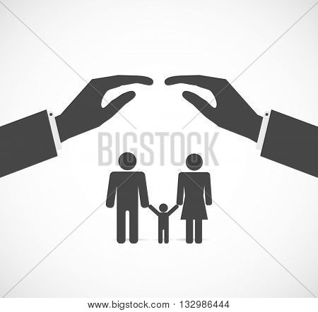 hands cover family concept icon