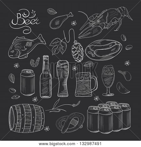 Beer hand-drawn doodle collection. Black and white Vector illustrations of beer and snacks. Icons for restaurants menus logos web and print.