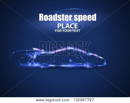 Motion design. Roadster particles, symbolizing speed. Blur and light isolated on black background. Vector illustration EPS10
