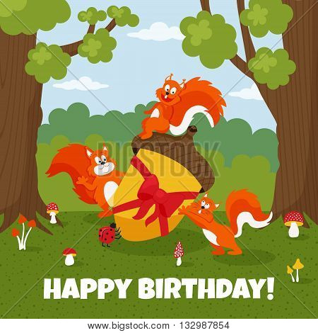 vector illustration of cute squirrels in the forest holding an acorn as a present children illustration template of a children birhday greeting card