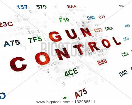 Protection concept: Pixelated red text Gun Control on Digital wall background with Hexadecimal Code