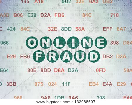 Protection concept: Painted green text Online Fraud on Digital Data Paper background with Hexadecimal Code