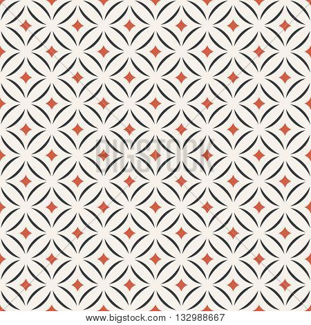 Seamless pattern. Modern stylish texture. Tile with regularly repeating geometrical elements shapes rhombuses arches crossed circles. Vector element of graphic design