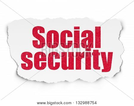 Security concept: Painted red text Social Security on Torn Paper background with  Tag Cloud