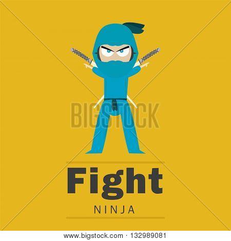 Illustration of ninja and gradients used. The symbols translation is - Ninja.