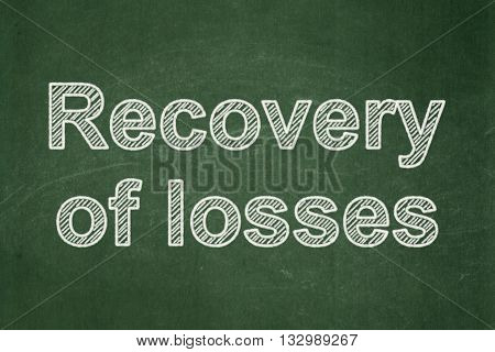 Currency concept: text Recovery Of losses on Green chalkboard background