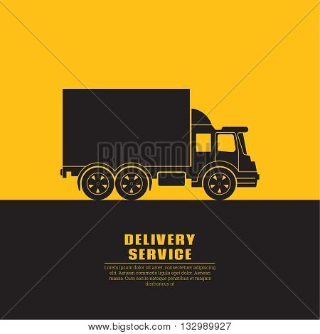 Truck sign with a banner for the text. Fast cargo delivery service of shops enterprises and other establishments. A vector illustration in flat style.