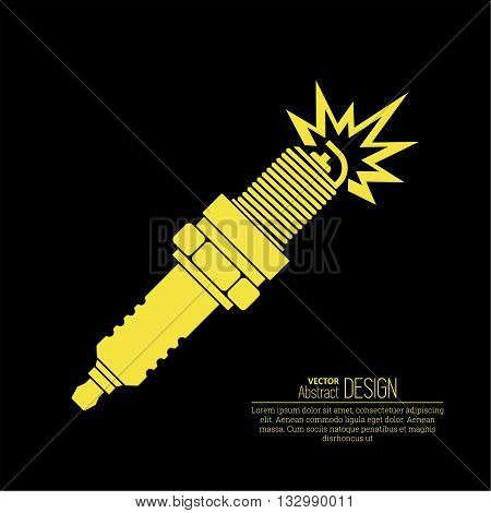Icon automobile spark plug. The spare part for an internal combustion engine. A vector illustration in flat style.
