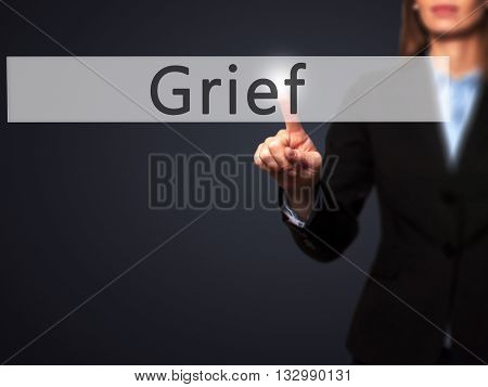 Grief - Businesswoman Hand Pressing Button On Touch Screen Interface.