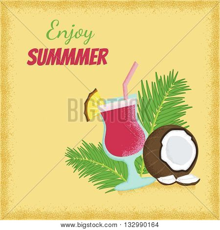 vector template of a psoter with illustrations of coconut cocktail plam leaves and enjoy summer text