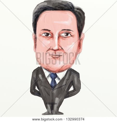 JUNE 5, 2016: Caricature illustration of David William Donald Cameron English politician and Prime Minister of the United Kingdom leader of the Conservative Party and British Member of Parliament (MP) standing viewed from front on isolated background done