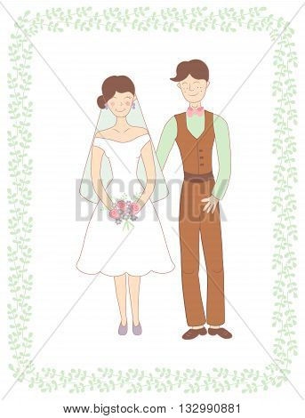 vector illustration of happy married couple and beautiful green frame