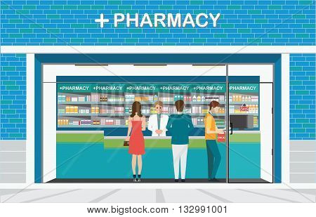 Male pharmacist at the counter in a pharmacy shop opposite of shelves with medicines building exterior front view and interior drug store Health care conceptual vector illustration.