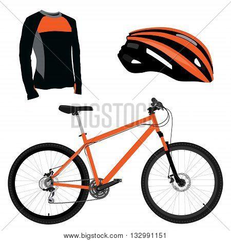 Orange bicycle helmet and shirt vector icon set. Sport equipment. Sports uniform or biking clothes