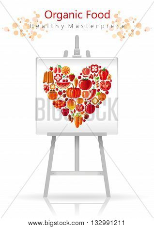 Vegetarian heart on canvas and easel red and orange