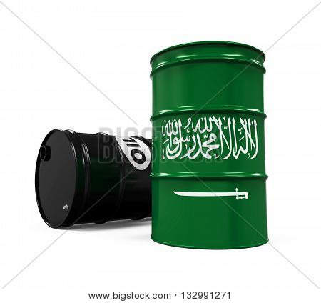 Saudi Arabia Flag Oil Barrel isolated on white background. 3D render