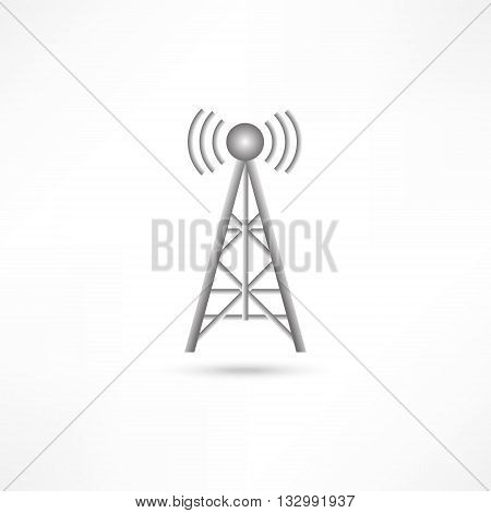 Vector illustration radio antenna wireless. Technology and network signal radio antenna. Wave tower radio antenna. Telecommunications radio antenna tower or mobile phone base station with engineers concept vector.