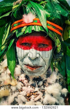 Woman In Traditional Costume In Papua New Guinea