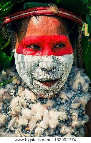 Face With Colours In Papua New Guinea