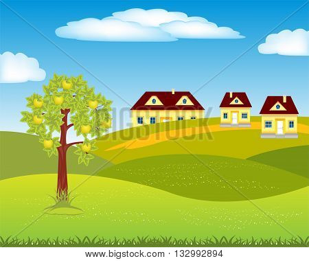 The Small village amongst hills by summer.Vector illustration