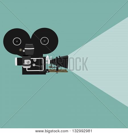 Vector illustration retro movie projector poster leaflet or banner template. Cinema motion picture film projector with different film reels.Retro cinema icon.