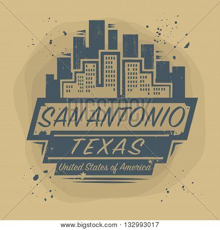 Stamp or label with name of San Antonio, Texas, vector illustration