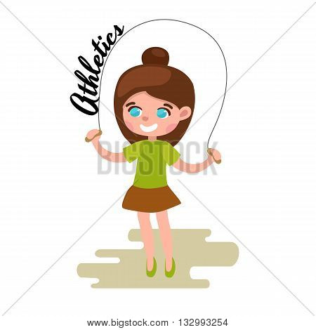 Little girl playing skipping rope white background, athletics kid vector illustraion
