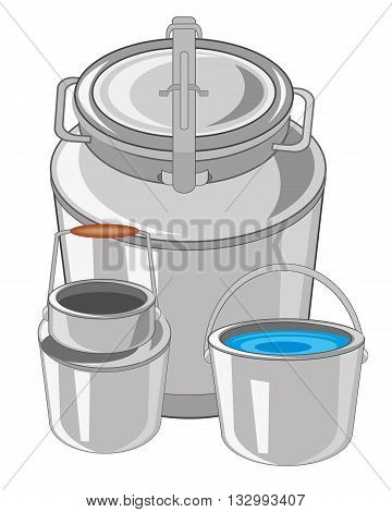 Flask with can and pail on white background is insulated