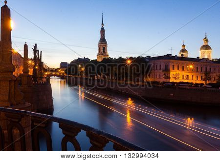 Evening view of the St. Nicholas Bell tower, St. Petersburg ,Russia