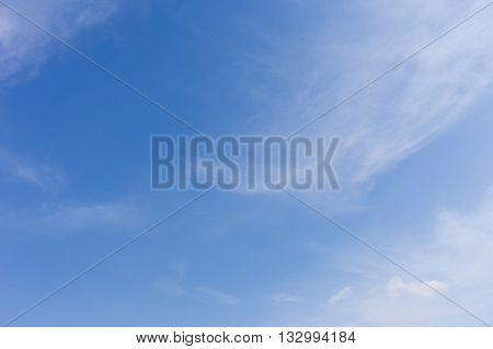 Clear Blue Sky Background With Wind Blowing Cloud